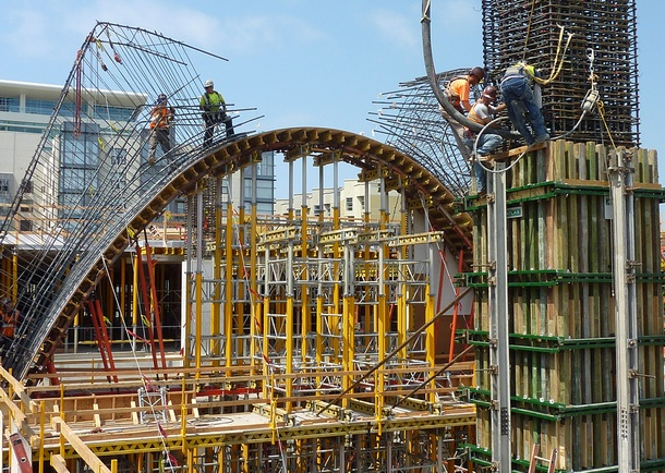 San Diego Central Library structural formwork of gravity arch. Photo courtesy of Gary Krueger