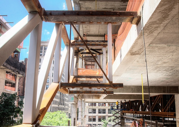 Construction view of the concrete exit and access stairs structure. Photo courtesy of Tishman Construction Corporation.