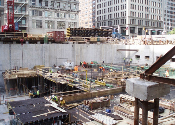Deep foundation construction view. Photo courtesy of Tishman Construction Corporation.