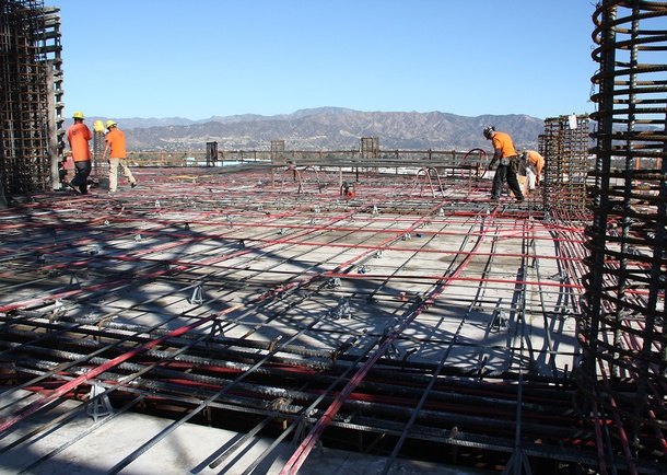 Slab reinforcing included post-tensioning. Detailing of slab reinforcing was kept typical over majority of deck. Photo courtesy of Bomel Construction
