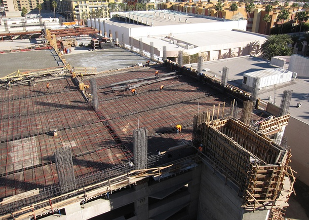 View from office building of parking structure under construction. Photo courtesy of Bomel Construction