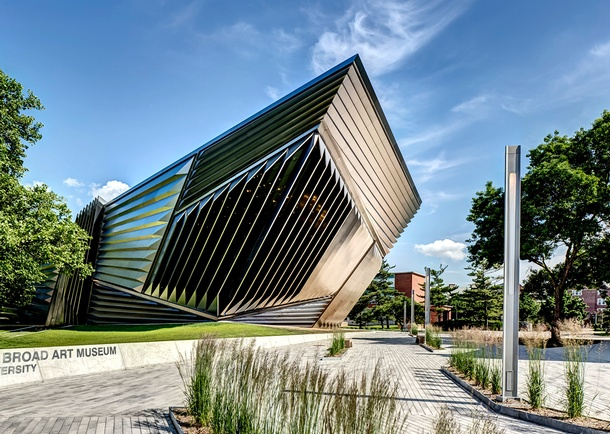 West view of the Broad Art Museum exterior. Photo courtesy of Maconochie Photography