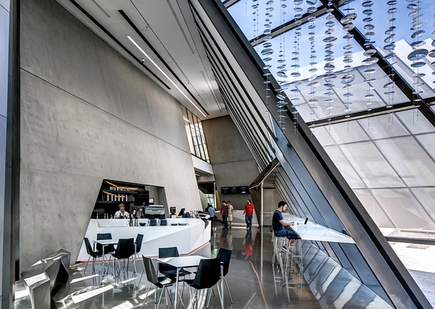 Interior view of the Broad Art Museum cafe. Photo courtesy of Maconochie Photography