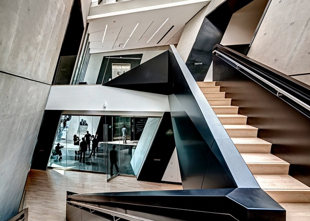Interior view of the Broad Art Museum main stairway. Photo courtesy of Maconochie Photography