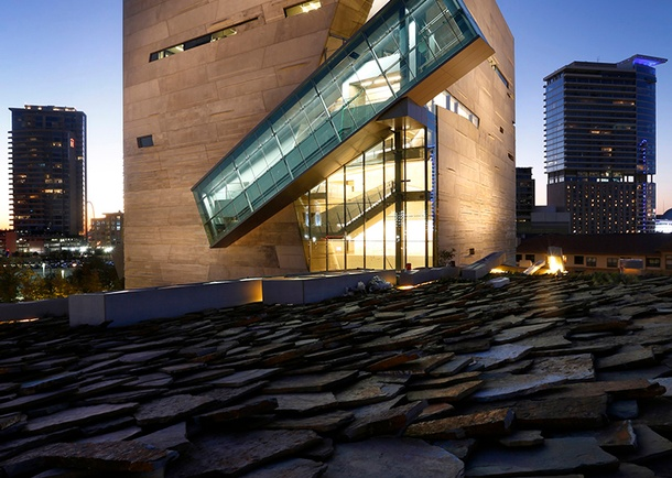 Completed view of the Perot Museum of Nature and Science at dusk in downtown Dallas. Photo courtesy of The Dallas Morning News, Tom Fox, Staff Photographer