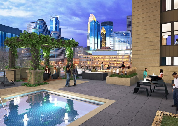 Rendering of Rooftop Deck. Courtesy of Three Line Studios