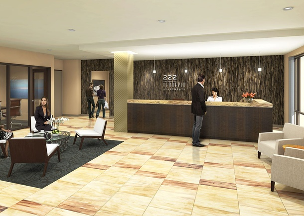 Rendering of Reception Area. Courtesy of Three Line Studios