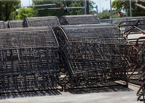 Segment Reinforcing Cages (1,800 lbs each). Photo courtesy of Steelworks Rebar Fabricators, LLC