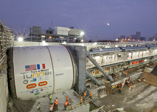 Tunnel Boring Machine (TBM) during construction. Photo courtesy of Bouygues Civil Works Florida