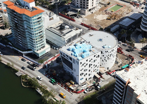 Aerial view of the Faena Arts Center. Photo courtesy of Layton Construction, Sandy, UT
