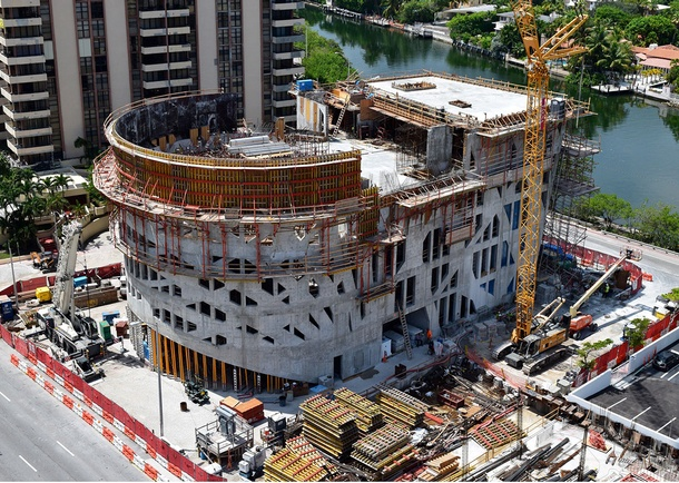 Aerial view Faena Arts Center under construction. Photo courtesy of Layton Construction, Sandy, UT