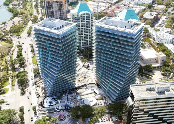 Aerial view of the completed Grove at Grand Bay towers. Photo courtesy of DeSimone Consulting Engineers, Miami, FL/Facchina Construction of Florida, LLC, Miami, FL