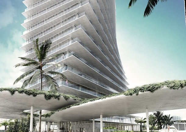 Grove at Grand Bay Rendering highlighting drop-off canopy. Photo courtesy of Bjarke Ingels Group, New York, NY