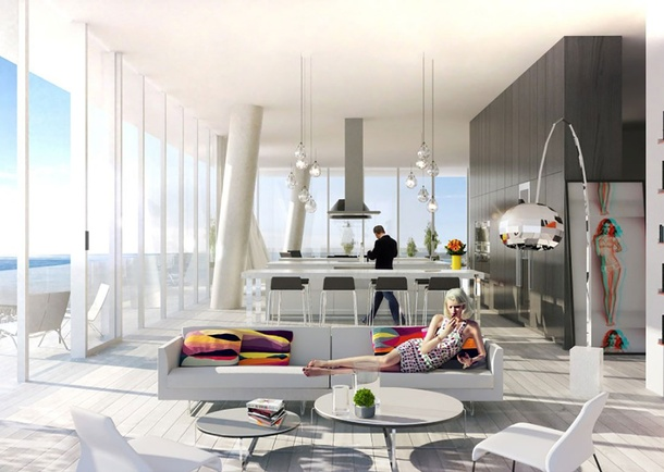 Grove at Grand Bay Rendering highlighting a flexible unit interior design. Photo courtesy of Bjarke Ingels Group, New York, NY