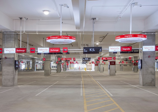Interior view of Level 1 of the San Diego Rental Car Center. Photo courtesy of Design B, San Diego, CA