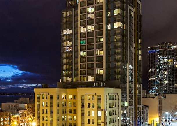 View of the completed Viktoria at night. Photo courtesy of Cary Kopczynski & Company, Bellevue, WA