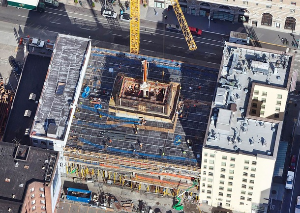 Aerial construction view of Viktoria. Photo courtesy of Cary Kopczynski & Company, Bellevue, WA