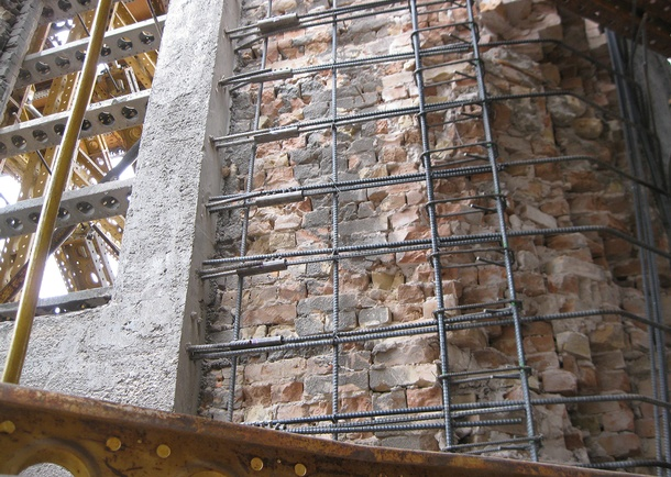 Reinforcing steel (rebar)/shotcreted brick walls. Photo courtesy of Reaveley Engineers + Associates, Salt Lake City, UT