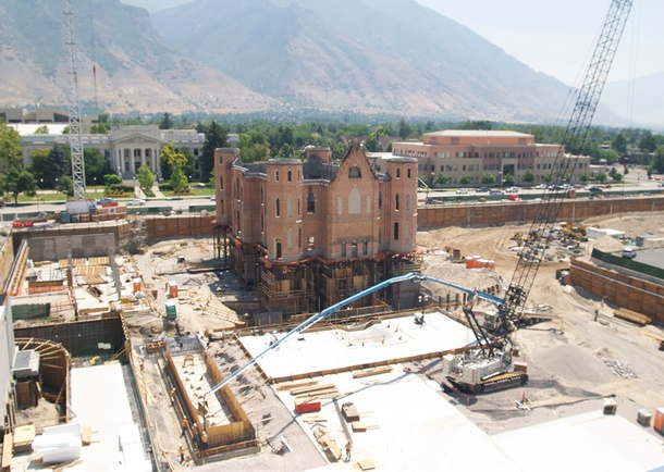 Foundation wall structure being constructed. Photo courtesy of Reaveley Engineers + Associates, Salt Lake City, UT