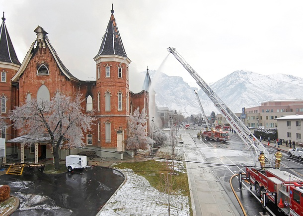 Historic Provo Tabernacle fire. Photo courtesy of Reaveley Engineers + Associates, Salt Lake City, UT
