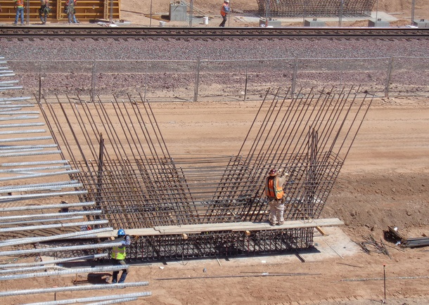 Pier reinforcing. Photo courtesy of Haydon Building Corp., Phoenix, AZ