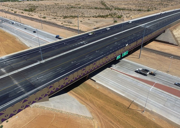 Completed bridge looking North. Photo courtesy of Haydon Building Corp., Phoenix, AZ