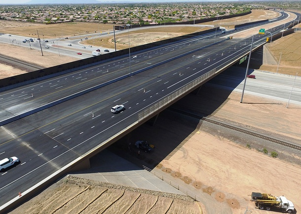 Completed bridge looking South. Photo courtesy of Haydon Building Corp., Phoenix, AZ