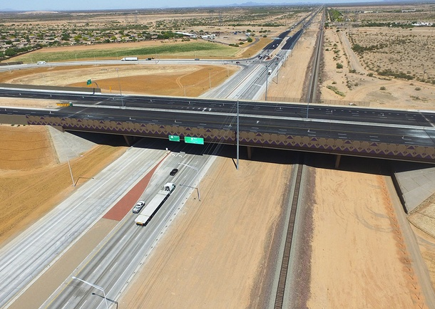Completed bridge looking West. Photo courtesy of Haydon Building Corp., Phoenix, AZ