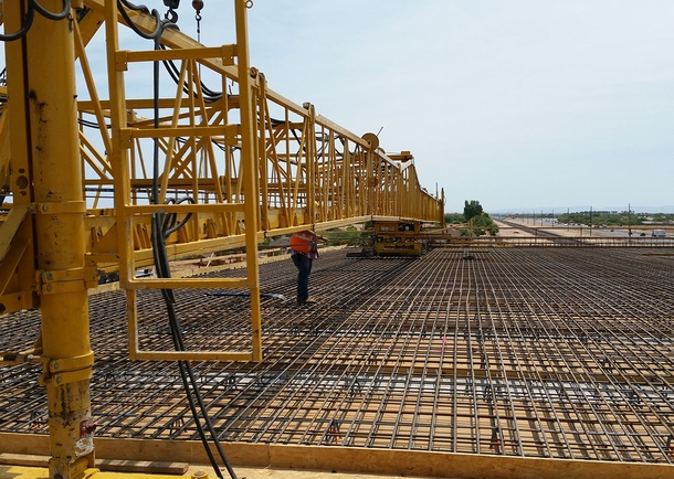 Deck reinforcing at span 4. Photo courtesy of Stanley Consultants Inc Phoenix, AZ