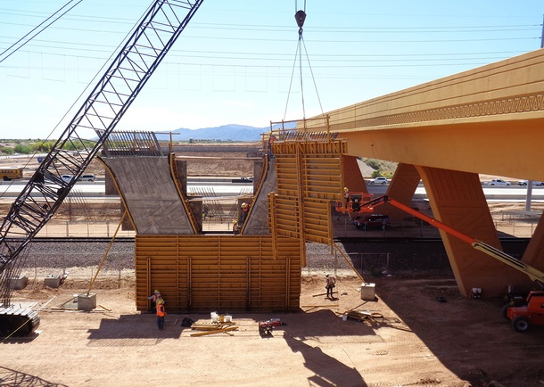 Pier reinforcing and form removal. Photo courtesy of Haydon Building Corp., Phoenix, AZ