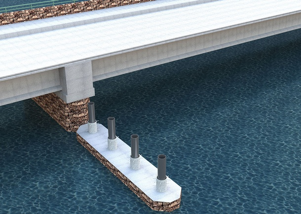 Rendering of the SH-55 bridge over the North Fork Payette River showing the lower pier segment installed. Photo courtesy of the Idaho Transportation Department, Boise, ID