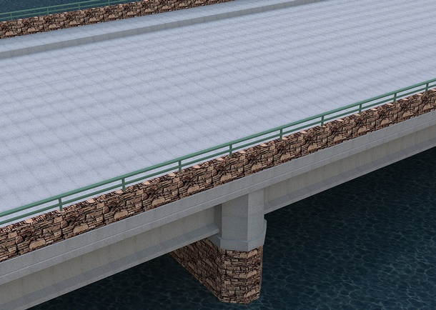 Rendering of the SH-55 bridge over the North Fork Payette River showing the sidewalks and parapets constructed. Photo courtesy of the Idaho Transportation Department, Boise, ID
