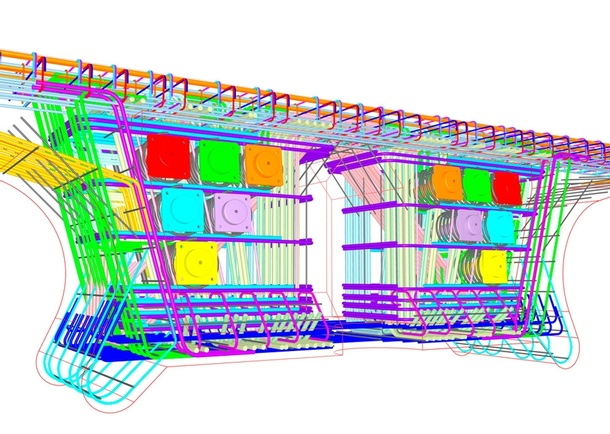 3-D color CAD drawing of a main span pier segment half. Various colors were used to indicate different reinforcing bar sizes, post-tensioning ducts and other structural framing details. Photo: ©FIGG
