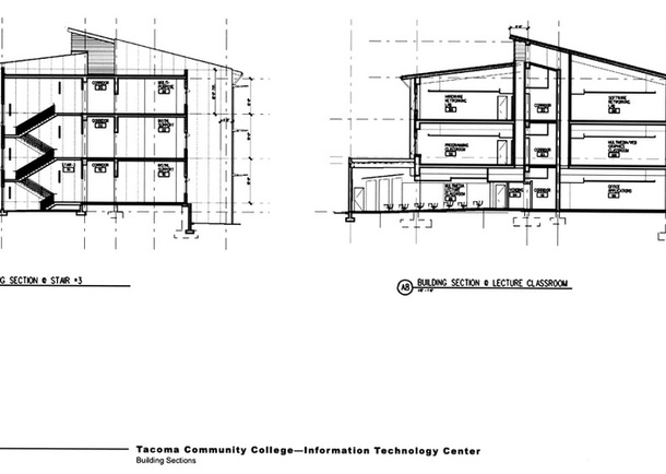 The building's innovative plan was divided into four, three-story volumes, separated to the north and south by a main corridor. An exit stair and faculty lounges divide areas to the east and west and invite natural light and views, as do the third floor's North-facing clerestory windows. Diagrams: Callison Architecture.